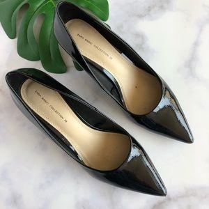 Zara Black Faux Patent Block Heel Pumps